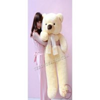 BONEKA TEDDY BEAR FLUFFY SYAL SUPER JUMBO 1,2 METER WARNA CREAM