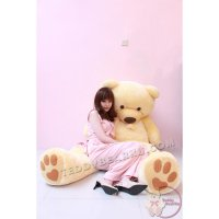 BONEKA TEDDY BEAR FLUFFY SYAL MEGA JUMBO 2 METER WARNA CREAM