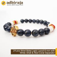 24 pcs Wrist Mala Lapiz Lazuli 6 mm with White Shell dan Red Coral Separator