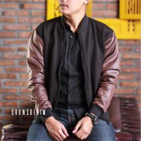 [Crows Denim] Jaket Baseball Dark Brown Style SK48