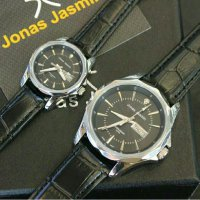 Jam Tangan Mewah Jonas Jasmin JJ2015L Black Leather Couple OriginaL(Guess/rolex/Gshock/Digitec