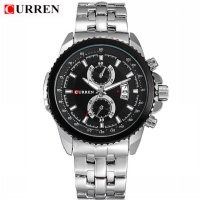 CURREN 8082 Stainless Steel Men's Fashion & Casual Watches (Silver-black) 1701