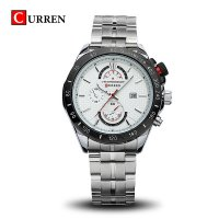 CURREN 8148 Men's Stainless Steel Watch with Date Display (white) 1701