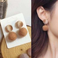 ANTING 030D5Br-5Cr PomPom Round Earrings