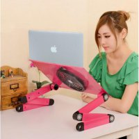 Meja Laptop Portable Aluminium with cooler big fan and mouse pad