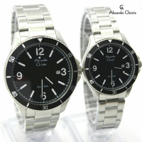 Jam Tangan Couple Alexandre Christie 5011 Silver Black
