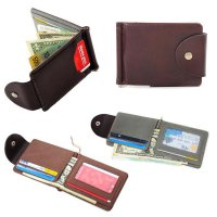 Ultra-thin Leather Money Clip Slim Wallets ID Credit Card Holder Purse