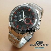 Jam Tangan Pria Casio Edifice Dualtime Kw Super Silver Red(Gshock/rolex/digitec/guess)
