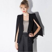 [globalbuy] Women cloak cape blazer Black color 2016 Spring and Autumn lapel split long sl/3965964