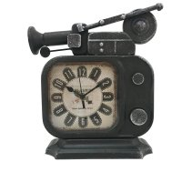 Vintage Retro Old TV Radio Shape Iron Metal Table Clock