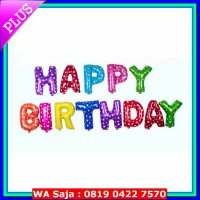 (Platinum) Balon Huruf 1 Set Tulisan HAPPY BIRTHDAY Rainbow 14 inch Murah
