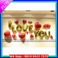 (Platinum) Balon Foil Huruf I Love You warna Gold