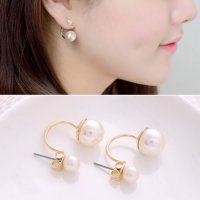 Gold Pearl Up and Down Korean Fashion Earrings YX00E1GD SJ0059