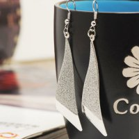 Silver Triangle Long Earrings Fashion Jewelry Anting YXE778SR SJ0059
