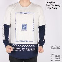 Kaos Distro Pria Longline Lengan Panjang Just Go Away Grey Navy