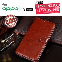 Oppo F5 Youth - Elegant Retro Leather Flip Case Cover