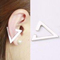 [ANTING] 026729r White Triangular Ear Clip Earrings Harga 1pcs No Needle White