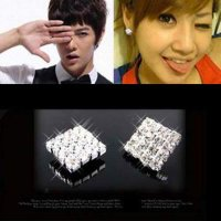 [ANTING] 0275ABr Diamond Square Ear Clip No Needle Magnet