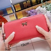dompet simpel pita Korean cross pattern purse bow bdo022