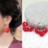 ANTING 0314ACr-A9r PomPom Triple Ring Earrings