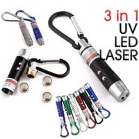 Gantungan Kunci Senter 3in1 UV money detector + Laser pointer + LED