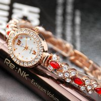 Ruby Bracelet Watch / cubic crystal beads wrist romantic fashion gold