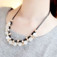 Black Cord Pearl Diamond Necklace CXC246 SJ0059
