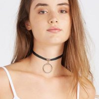 [KALUNG] 02E8BAr-B9r Choker Metal Ring Leather Necklace