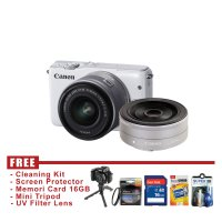 Canon EOS M10 Kit 15-45mm Dan EF-M 22mm IS STM Putih - FREE Accessories