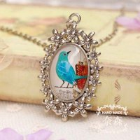 [KALUNG] 02A7AEr Birds Ancient Silver Chain Necklace Bird Portrait