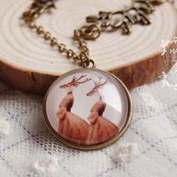 [KALUNG] 02A7B0r Deer Female Retro Necklace Two Deer Female Portrait