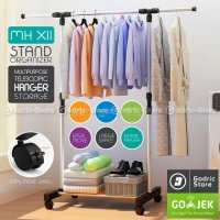 [BEST SELLER] Jemuran Baju Indoor Outdoor Hanger Rak Pakaian Multifungsi With 4 Roda
