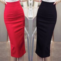 [globalbuy] High Waist Black Red Long Pencil Skirt Office Ladies Maxi Formal Skirt Elegant/3963132