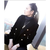 [globalbuy] Paris Luxury Brand Designers Double Breasted Black Velvet Blazer Womens Shawl-/3962812