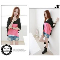 [DJ] A women's round neck loose-fifth pick color with long sleeves bat sleeve cotton shirts