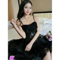 Djulia Sleepwear Nightdress Lingerie, Laces Include Gstring - Hitam