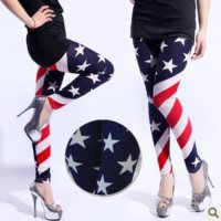 [globalbuy] American US flag pants red and white stripe pentagram leggings lady fashion co/3962650