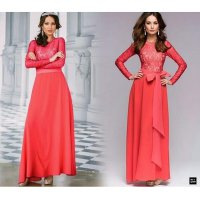 Grosir! Dress Wanita Brukat Lapis Merah [Longdress Universe Ft]