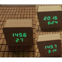 Jam Weker LED Digital Wood Clock - JK-859