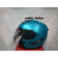 HELM INK METRO SOLID ICE BLUE HALF FACE