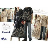 Grosir! Baju Dress Couple Rayon Batik Hitam Dan Cream [Amour Ak]