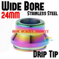 Wide Bore Drip Tip - Rainbow   316 Stainless Steel   For 24mm RDA 24