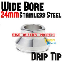 Wide Bore Drip Tip - Silver   316 Stainless Steel   For 24mm RDA 24 mm