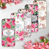[globalbuy] Elegant luxury Minimal Crown Floral Flower Painted Silicone Soft Case Cover Fo/3010772