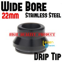 Wide Bore Drip Tip - Black   316 Stainless Steel   For 22mm RDA 22 mm