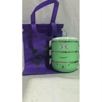 Rantang karakter minion susun 3 stainless lunch box