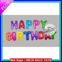 [Terbatas] Balon Foil Huruf Set Happy Birthday Warna Warni / Rainbow Mix Random