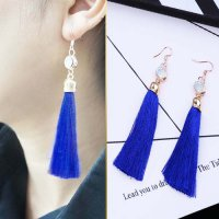 Handmade Tassel Long Latin Dance Earrings - Blue