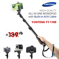 YunTeng YT-1188 Monopod [Tongsis] with Built-in AUX Cable - Hitam