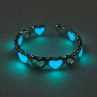 Girl Glow In The Dark Hollow Colorful Love Finger Ring Fashion Jewelry